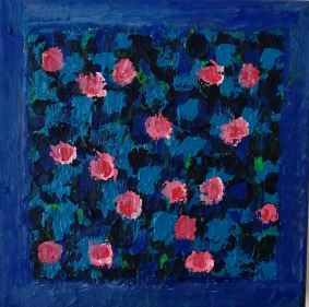 PINK AND BLUE ABSTRACT.  ACRYLIC ON CANVAS. SOFIA BURY.